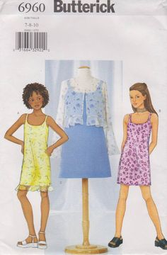 Butterick Sewing Pattern 6960 B6960 Girls' Sizes 7-10 Easy Jacket Bolero Lined Slip Dress Butterick+Sewing+Pattern+6960+B6960+Girls'+Sizes+7-10+Easy+Jacket+Bolero+Lined+Slip+Dress
