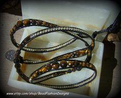 Faceted Graduated Tiger Eye Gemstones, Silver, Black Leather, Wrapped Around Bracelet/Belt. SRAJD