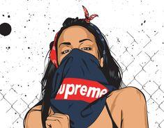 """Confira este projeto do @Behance: """"Supreme girl vector""""…"""