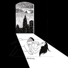 WEBSTA @ glambeckett - ⚡️#illustration #lineart #drawing #ink #blackink #blackandwhite #dotwork #blackwork #lowbrow #lowbrowart #sadgirl #femaleartist #noir #nude #moon #newyork #NYC #night #bed #midnight #window #windowview #rain #thunder #lightning #erotic #eroticart #aotearotica #picame #glambeckett
