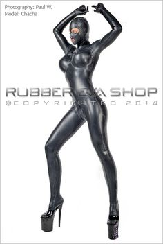 Total Enclosure Underwired Rubber Catsuit - Rubber Catsuits - Rubber Eva Shop. This fully enclosed rubber catsuit has feet, gloves and attached hood. It has underwired cups to hold, lift and support the breasts. It has a leotard line cut across the hips and a 4 way through crotch back zip. The one pictured has been chlorinated to show all the seams and multi-panelled work.