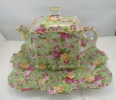 UniqueSadler Teapot with Lovely Tray Chintz Pattern by TinasDecor