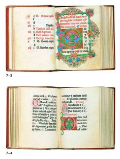 Pages from (Little Office of the Virgin Mary) by Nicholas Jenson. He formed a new standard of texture using wider letterforms, kerning between letters is tight, and even texture of black strokes. Decorated borders and initial letters reflect the contemporary illuminated manuscripts of that time.