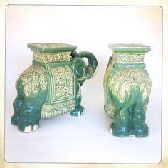 Vintage Elephant Garden Stool Aqua Ceramic Chinoiserie Fabulous Vintage Ceramic  Elephant Garden Stool! Pierced Ceramic