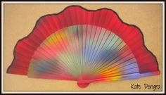 Scalloped Tie Dye Hand Fan www.handfansbykatedengra.com Hand Fans by Kate Dengra - A Trend is Unfolding