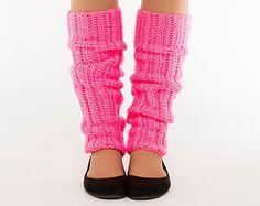 Neon Pink, 80's Style, Crocheted Legwarmers, Womens Accessory, Handmade, Crocheted, Knit, Women's Warm, Soft Winter Accessory