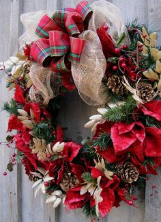 Christmas Wreath, Holiday Door Decor, Poinsettias Wreath, Pinecones, Plaid Bow via Etsy.