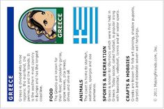 Fun facts about Greece. Print this educational page out and put it into our passport. Fill up your passport with all of our countries. See them all on MakingFriends.com