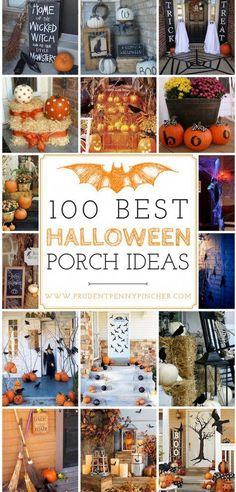 100 Best Halloween Porch Decor Ideas - 100 Best Halloween Decor Ideas for the Porch - Halloween HalloweenDecor DIY HalloweenDIY HalloweenPorch Fall FallPorch FallDecor halloween ideas/halloween ideas recipes Spooky Halloween, Diy Halloween Party, Halloween Mono, Halloween Veranda, Halloween Outside, Halloween Porch Decorations, Halloween Party Supplies, Holidays Halloween, Halloween Crafts