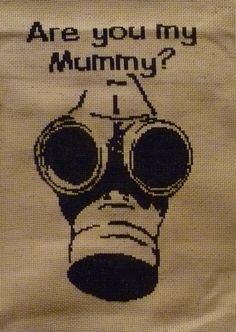 Geek Cross Stitch, Cross Stitch Patterns, Bead Patterns, Embroidery Fabric, Fabric Art, Cross Stitching, Cross Stitch Embroidery, The Empty Child, Gas Mask Art