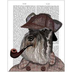 FabFunky Schnauzer Sherlock Print ($47) found on Polyvore featuring home, home decor, wall art, multi, paper wall art, dog home decor and dog wall art
