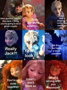 Finally Rapunzel get it! Jack belongs with Elsa >:s Part Rapunzel is jealous. Elsa and Jack