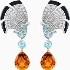 Everlasting Light set, Palais de la Chance collection, Van Cleef & Arpels: Short earrings: White gold, diamonds, tourmalines, onyx, yellow gold and Mandarin garnets.
