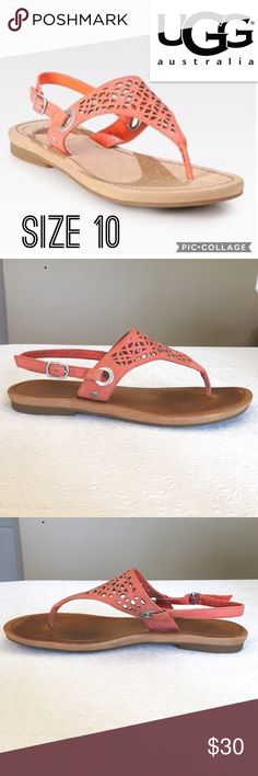UGG Laser Cut Leather Sandals Size 10 So soft and comfy, perfectly Broken In! Adjustable strap. UGG Shoes Sandals