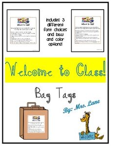 Save your valuable time and print this ready-to-use gift idea! Great for a beginning of the year gift for students! *All you need is 1 bag for each student and each of the treats listed in the poem. Attach the note to the front of the bag and put on each students desk for a wonderful surprise when they enter your classroom for the first time. ---------------------------------------------------------------------------------------------*THIS PRODUCT INCLUDES:-Teacher Directions-1 tag in 3…