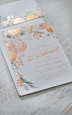 gold wedding invitations floral