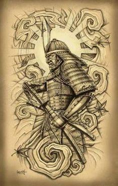 awesome Tattoo Trends - Attractive Samurai With Sword Tattoo Design For Men By Loren Fetterman. Samurai Maske Tattoo, Samurai Warrior Tattoo, Samurai Drawing, Samurai Art, Ninja, Japanese Warrior, Japanese Oni, Tattoo Lettering Fonts, Filipino Tattoos