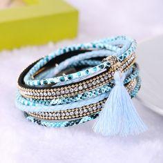 2016 Fashion Beach Boho Magnet buckle Leather Braided Multilayer Tassel  Rhinestone bracelets & bangles for Women Men Gift - KB