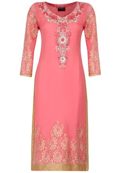 Baby pink pearl and thread embroidered tunic by Surabhi Arya. Indian Bridal Wear, Indian Wear, Indian Style, Pakistani Outfits, Indian Outfits, Indian Clothes, Latest Designer Sarees, Designer Dresses, Salwar Kameez