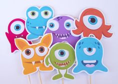 Little Monsters Party - Set of 12 Assorted Monster Cupcake Toppers by The Birthday House. $6.00, via Etsy.