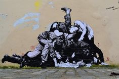 We are enjoying the fun, imaginative wheatpastes of French artist Lavalet. Lavalet began making the site-specific pieces around France last year, comi. 3d Street Art, Street Art Graffiti, Street Artists, Banksy, Art Des Gens, World Street, Expo, People Art, Land Art