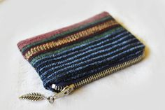 Navy Blue Maroon Gold striped woven coin purse by ElfAndOak