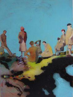 "Saatchi Online Artist: Marie-Hélène Fabra; Oil 2013 Painting ""pic nic"""
