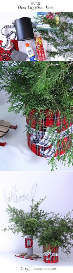 Turn plaid fabric, paint cans, and Elmer& glue into amazing DIY upcycled Ch. Turn plaid fabric, paint cans, and Elmer& glue into amazing DIY upcycled Christmas vases. Find more ideas at The Celebration Shoppe! Christmas Vases, Christmas Svg, All Things Christmas, Handmade Christmas, Christmas Holidays, Christmas Decorations, Vase Decorations, Tartan Christmas, Upcycled Crafts