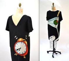 Vintage Black Silk Dress by Nicole Miller With Martini and Aspirin Size Small Medium// Black Silk Dress with Conversational Pop Art Print by Hookedonhoney on Etsy
