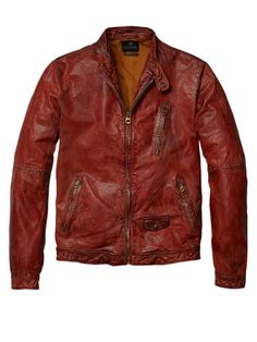 Leather biker jacket -Official Scotch & Soda
