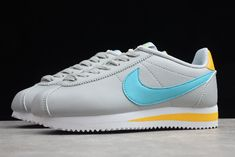 Wmns Nike Classic Cortez Leather Grey/Pure Platinum/Hyper Jade 807471-019 Nike Classic Cortez Leather, Nike Shoes, Sneakers Nike, Pure Platinum, Glass Slipper, Nike Cortez, Girl Boss, Jade, Comfy