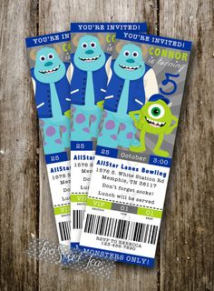 TICKET STYLE Monsters Inc University inspired Invitation Birthday Party Mike Wazowski Sully digital printable diy on Etsy, $13.00