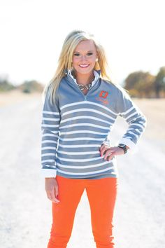 Gameday Couture - OKLAHOMA STATE LUREX STRIPED QUARTER ZIP JACKET, $56.00 (http://www.gameday-couture.com/whb14-osu-lurex-striped-quarter-zip-jacket/)