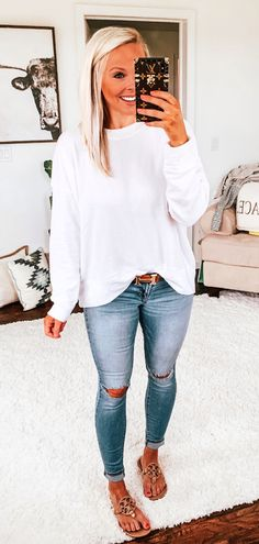 #spring #outfits white sweatshirt