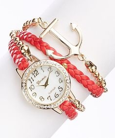 Red Anchor Bracelet Watch | zulily