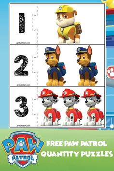 Teaching İdeas 517562182174764592 - Paw Patrol is an excellent theme for getting kid's attention in order to teach basic skills. Here is a set of free educational materials for basic number skills! Character Activities, Preschool Education, Preschool Learning Activities, Toddler Learning, Preschool Worksheets, Educational Activities, Toddler Activities, Preschool Activities, Physical Education