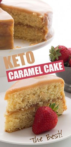 Caramel Cake - Keto Low Carb Recipe Love at first bite with this keto caramel cake. Your tastebuds will dance for joy and you won't believe it's low carb and sugar free! Tender almond flour vanilla cake with a rich caramel glaze. You can't beat it! Gourmet Recipes, Low Carb Recipes, Dessert Recipes, Soup Recipes, Breakfast Recipes, Dinner Recipes, Healthy Recipes, Keto Friendly Desserts, Low Carb Desserts