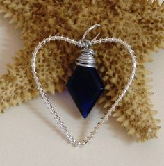 Mothers Day Sapphire Blue Faceted Glass Heart by rosepetalsjewelry, $10.00