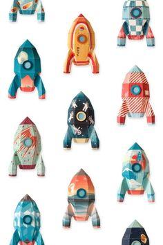 Raket behang Studio Ditte Behang met raketten voor alle astronauten in spe! Maak een avontuurlijke ruimtereis naar het oneindige heelal met deze old school raketjes. Het behang is een hoge kwaliteit vliesbehang. Het FSC gecertificeerde vliesbehang is heel sterk, kleurvast en met water afneembaar. Het behang is biologisch afbreekbaar en wordt op een duurzame manier geproduceerd. kinderkamer babykamer jongen jongenskamer
