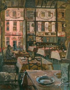 """huariqueje: """" Bogey's Bar (Woburn Place) - Patrick Heron 1937 British Oil on canvas """" Patrick Heron, Guys And Dolls, A Level Art, Mini Paintings, Going Home, Art Themes, Art Forms, Oil On Canvas, Illustration Art"""