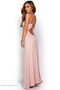 """Lorena"" Pastel Pink Strappy Open Back Plunging V Neck Maxi Dress"