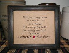 UNFRAMED Primitive Stitchery Mothers Day Gift Idea by wvluckygirl, $14.99