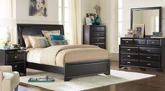 Belcourt Black 5 Pc Queen Upholstered Bedroom