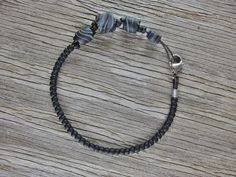 Men's Leather Bracelet with Black and Gray Handmade Polymer Clay and TOHO Beads by EndogenousDesigns on Etsy