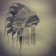 American indian head dress tattoo sketch by - Ranz