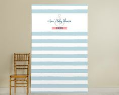 Personalized Photo Booth Backdrop - Nautical Baby Collection - Blue & White Stripe