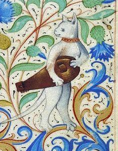 """""""Gatta con ghironda"""", miniatura tratta dal codice MS. 26 (1485-1490), Morgan Library di New York."""