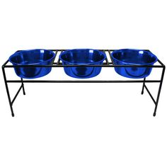 Platinum Pets Triple Modern Diner Stand with 3 Heavy 1-Quart Dishes, Blue * Check out this great image  : All pet supplies
