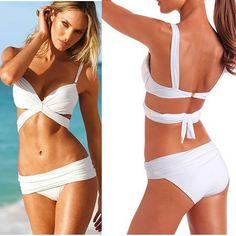Sexy 2 Pcs White Women Push Up Padded Swimwear Swimsuit Trikini Bikini Beachwear   eBay