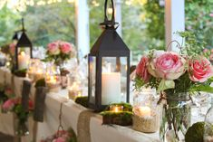 More pink, green and burlap. Love the lanterns.